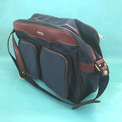 Samsonite Vintage Carry On Tote Luggage Overnight Navy Maroon Shoulder Strap