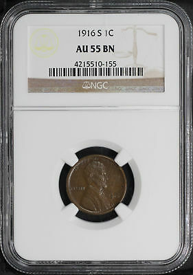 1916-S Lincoln Wheat Cent NGC AU-55 BN -141113