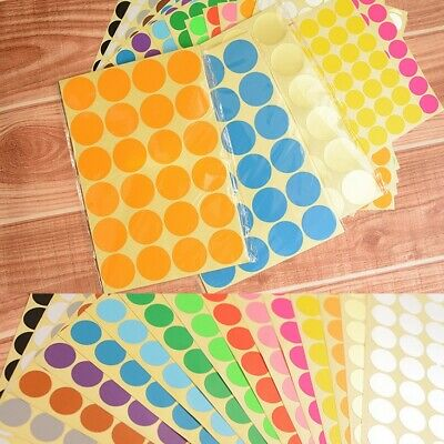 ANY SIZE Coloured Dot Stickers Round Spot Circles Dots Paper Labels *16 COLOURS