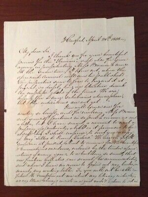 Lydia H. Sigourney Handwritten Letter Signed 19Th Century Am. Poet - Connecticut