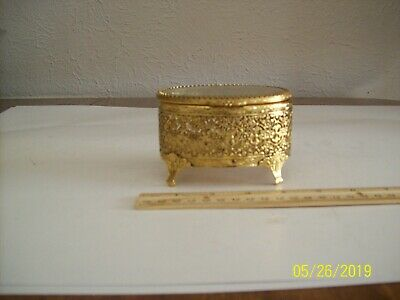Vintage Ornate Footed Brass Trinket Jewelry Box Oval Shaped w/Beveled Glass Top
