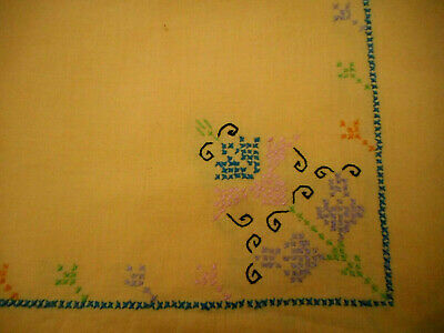 """Vintage Yellow Tablecloth Pastel Floral Hand Embroidery 34 x 27"""" Handmade"""