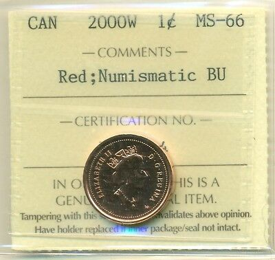 2000W Canada Small Cent Certified ICCS MS-66 Red NBU