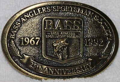Vintage Bass Anglers 25Th Anniversary Brass Belt Buckle 1992