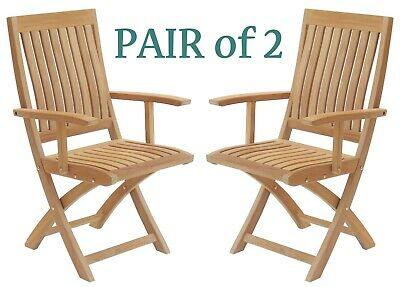 Pair of 2 Strong Solid Teak Folding Patio or Beach Arm Chairs