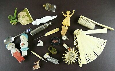 Antique Vintage Junk Drawer Lot Advertising Misc Fun Stuff
