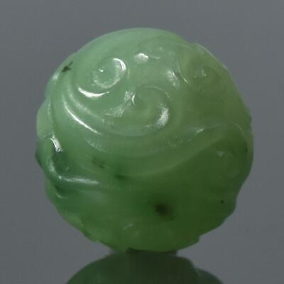 Hand-Carved Green Nephrite Jade Bead Natural Round 13.65 mm Carving 3.51 g