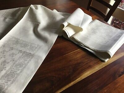 antique linen damask serviette material unhemmed