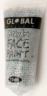 SILVER GLITTER - FACE & BODY PAINT - 15ml Tube