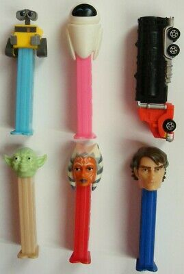PEZ Dispensers BULK x6  STAR WARS Yoda Ahsoka Tano Anakin Wall-E Eve COLLECTORS
