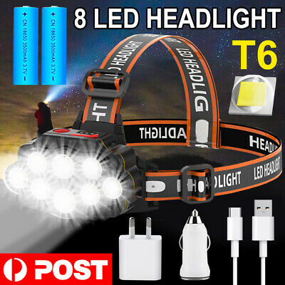95000Lm 5X Xm-L T6 Led Headlamp Head Light Head Torch Flashlight Camping Lamp Au