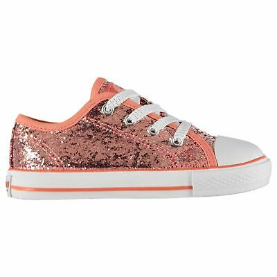 SoulCal Low Canvas Shoes Infants Girls Pink Glitter Trainers Sneakers Plimsoll