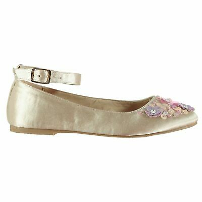 Miso Floral Embellished Flat Shoes Childs Girls Beige Kids Footwwear