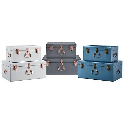 Your Home Vintage 2pc Metal Storage Trunks Bedroom/Living Room Chest Toy Box Set