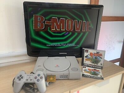 ps1 console scph-1002 con gioco b-movie play station controller memory card