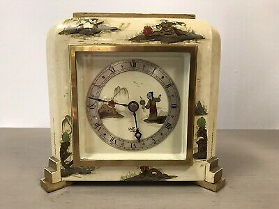 Stunning Chinoiserie Cream Lacquered Elliott Mantel Bracket Clock Working.
