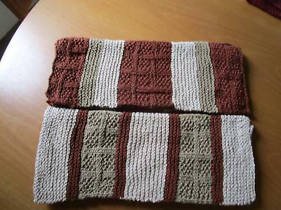 Two Matching Guest Towels, Kitchen  Bar Towels Cotton/Linen Blend Hand Knit
