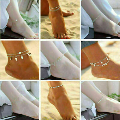 Ankle Bracelet 925 Sterling Silver Gold Anklet Foot Chain Boho Beach Beads Women