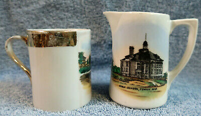 Lot of 2 Antique Vintage Glass Souvenirs Tomah Wisconsin WI Cup & Pitcher