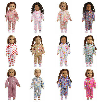 """Hot Latest Handmade pajamas 2-piece set Fits 18"""" Inch American Girl Doll Clothes"""