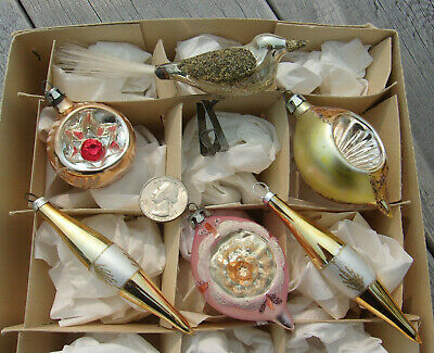 6 Vintage Small Glass Christmas ORNAMENTS w Bird Indents Teardrops Mica More Lot