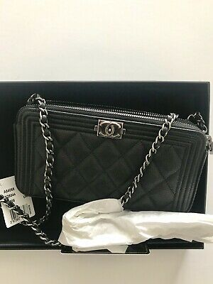41ba053a176c NWT CHANEL Authentic Boy Caviar Wallet On Chain W Zip Chain Shoulder Bag
