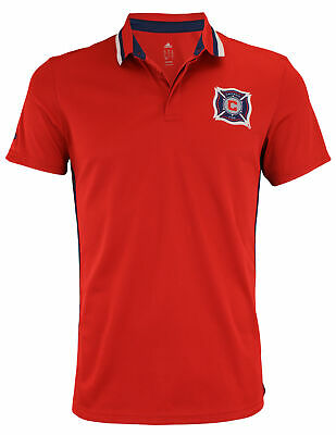 adidas MLS Men's Chicago Fire Soccer Club Climalite Authentic Team Polo, Red