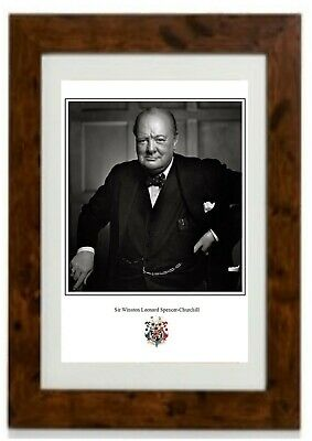 *NEW LARGER SIZE* Portrait Picture Sir Winston Churchill Framed Print