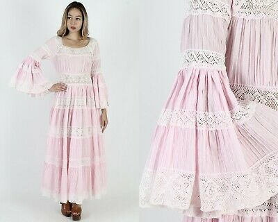 Vintage 70s Pink Mexican Wedding Dress Floral Crochet Sheer Lace Folk Party Maxi