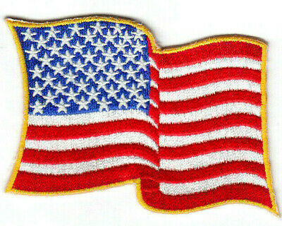 AMERICAN FLAG WAVING Iron On Patch USA Patriotic Flags