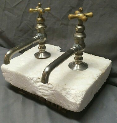 Antique Nickel Brass Pair Stebbins. Hot Cold Bathroom Sink Faucets Vtg 274-19L