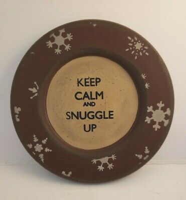 "Wood Round Plate Rustic ""Keep Calm and Snuggle Up"" 5 3/4"" Primitive Decor"