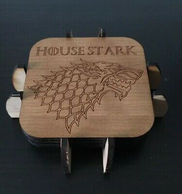 Game of Thrones Houses Wood Engraved Coasters, GOT Coasters