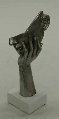 "Hand Resting on Floating Face Cold Cast Resin Bronze Sculpture 11"" x 6"""
