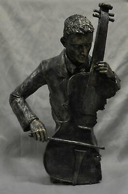 "Cello Player Orchestra Jazz Musician Cold Cast Resin Bronze Sculpture 19"" x 11"""
