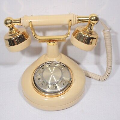 Vintage Western Electric PRINCESS/FRENCH Phone Tan/Gold Rotary Dial Telephone