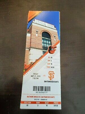 Yastrzemski HR Baltimore Orioles Giants MINT Season Ticket 5/31/19 2019 MLB Stub