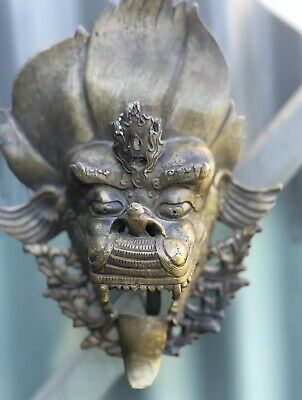 Antique Asian Mask With Candle Holder