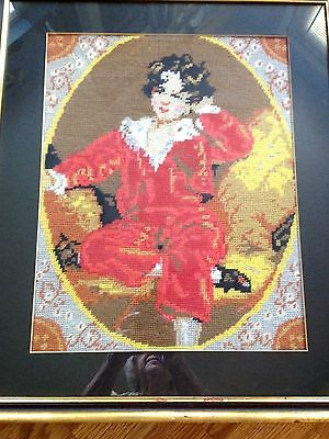Vintage Framed & Matted Victorian t Picture of Young Boy in Gold  Frame.