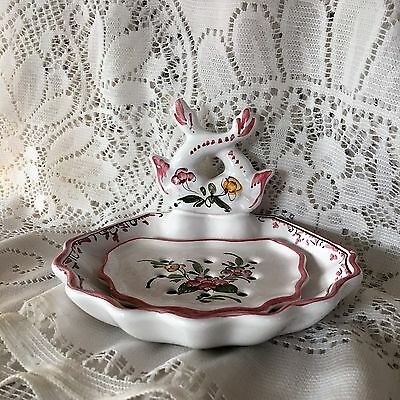 Beautiful Porcelain Soap Dish with inner Dish Signed