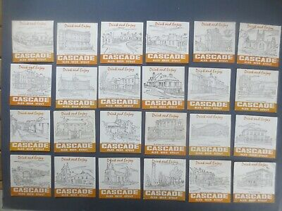 """complete set of 24 CASCADE BREWERY1980,s Issued BEER COASTERS """"YELLOW"""""""