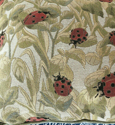 "Vintage Pillow Ladybug Tapestry Big! French Country Throw Sofa Garden 18"" x 18"""