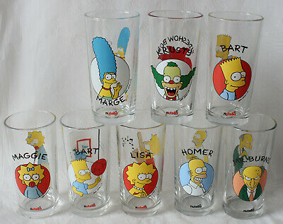 COMPLETE SET of 8!! Nutella THE SIMPSONS 1996 Portrait Collector Glasses