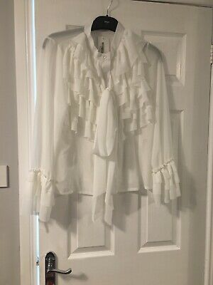 Ladies I Saw It First White Ruffe Bow Blouse Top Size Large BNWT BOUTIQUE LOOK!!