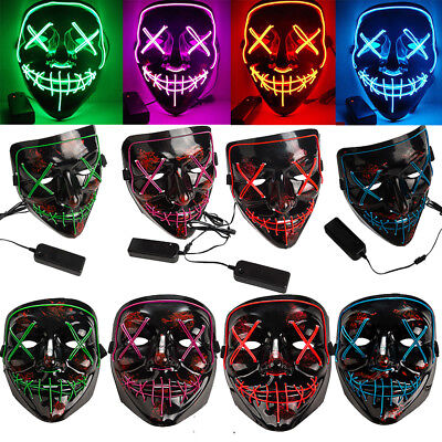 3-Modes Scary Mask Cosplay Led Costume Mask EL Wire Light Up The Purge Movie NEW