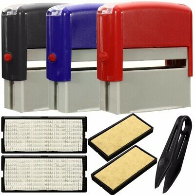 Personalised Self Inking Rubber Stamp Kit Business Name Address Craft Tool