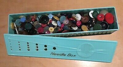 Continental Plastics vintage knitting NEEDLE BOX full old SEWING BUTTONS 1940s