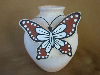 Native American Pottery Hand Painted Butterfly Vase by Tony Lorenzo, Zuni Pueblo
