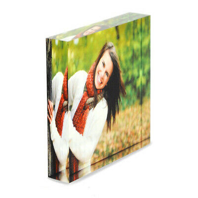Personalised Custom Acrylic Photo Block Frame Create Design Your Own Square 10cm