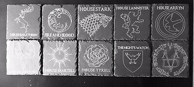 Game of Thrones Houses Slate Engraved Coasters, GoT Coasters